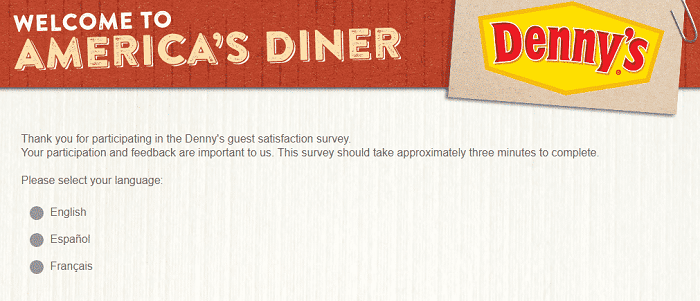 Denny's Survey form