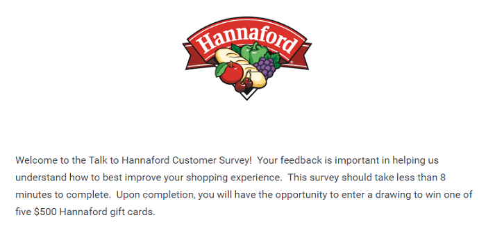 Hannaford survey form