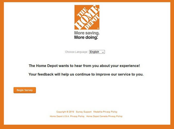Home Depot Survey form