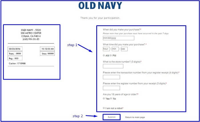 Old Navy Feedback Survey form