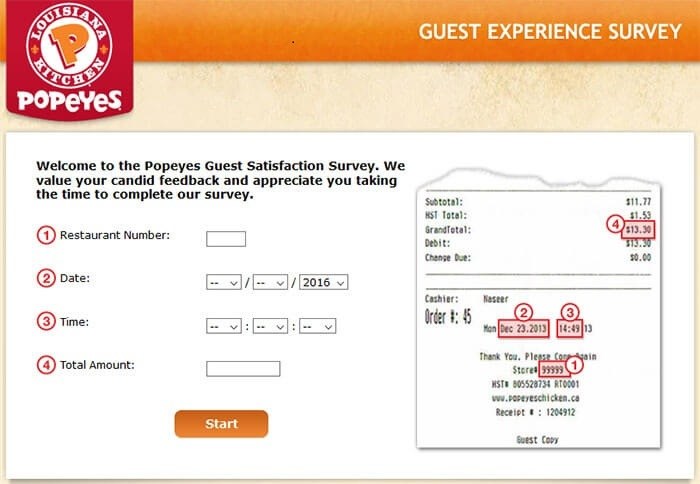 Popeyes Survey form