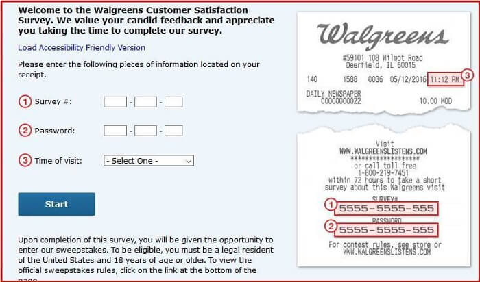 Walgreens Customer Survey form