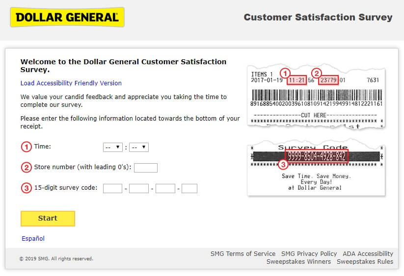dollar general survey form steps