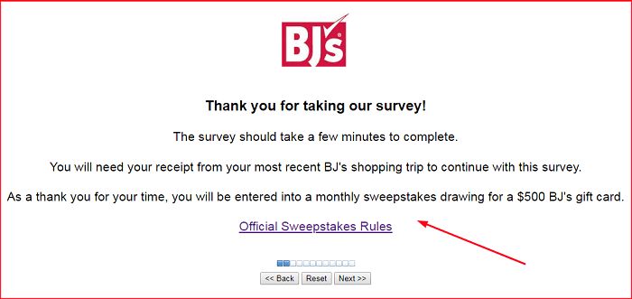 BJ's Monthly Survey form