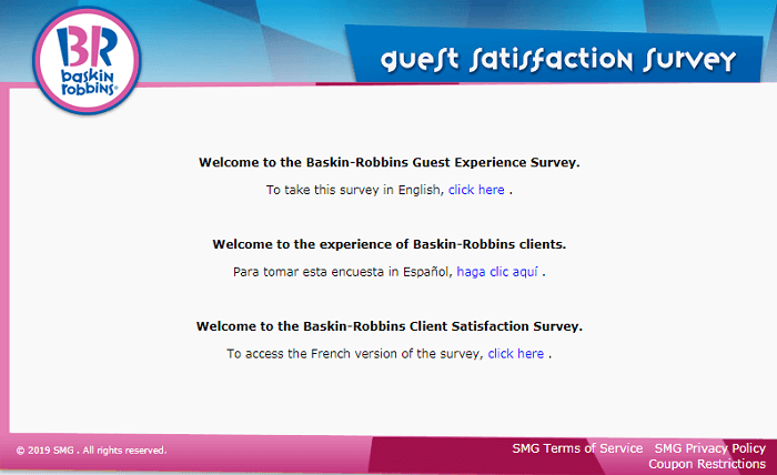 Baskin Robbins Survey form
