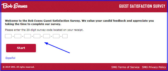 Bob Evans Survey form
