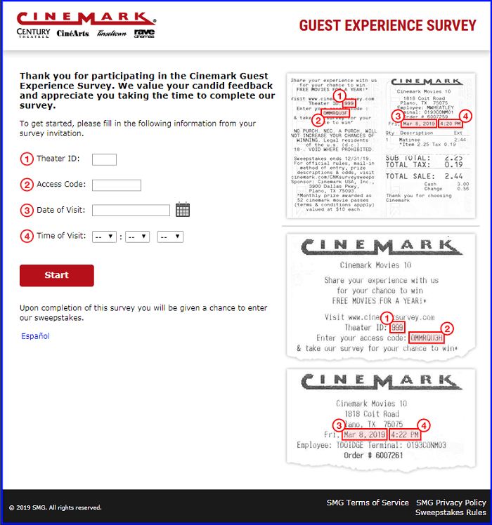 Cinemark Survey form