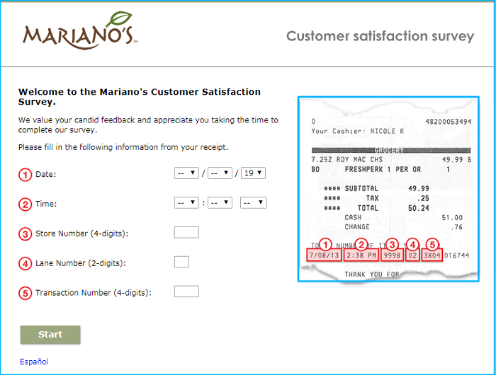 Mariano's Survey form