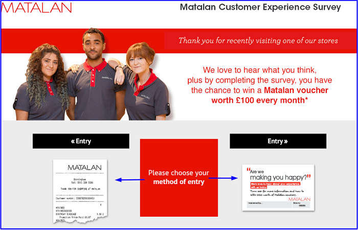 Matalan Survey form