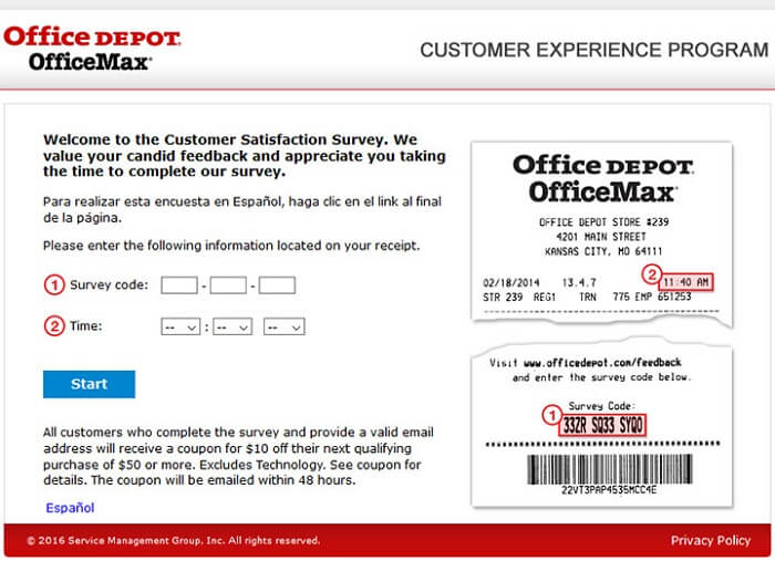 Office Depot Survey form
