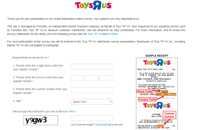 "Toys ""R"" Us Survey form"