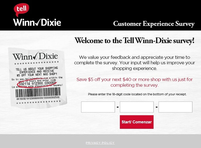 Winn-Dixie Survey form