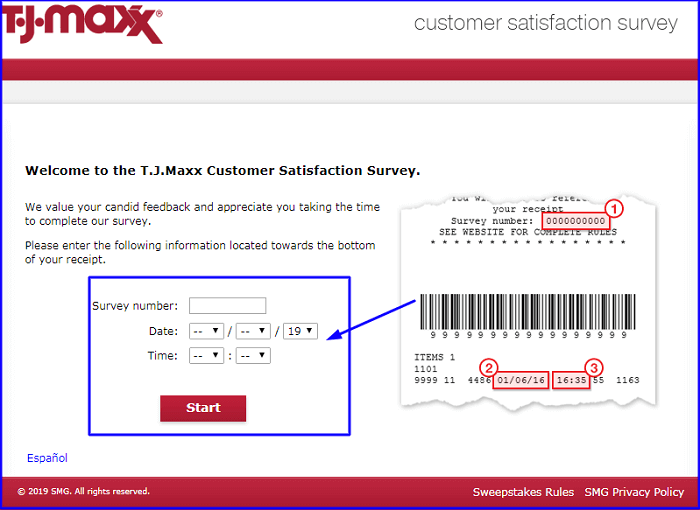 tjmaxx Survey form