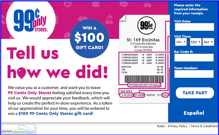 99 Cents Only Stores Survey form