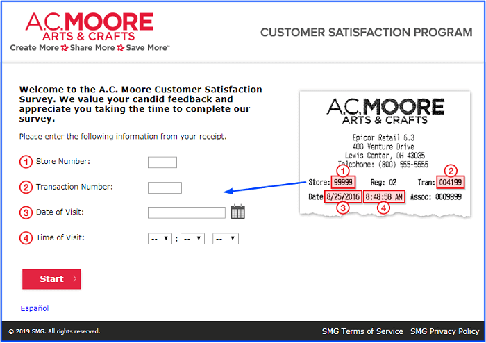 A.C. Moore Survey form
