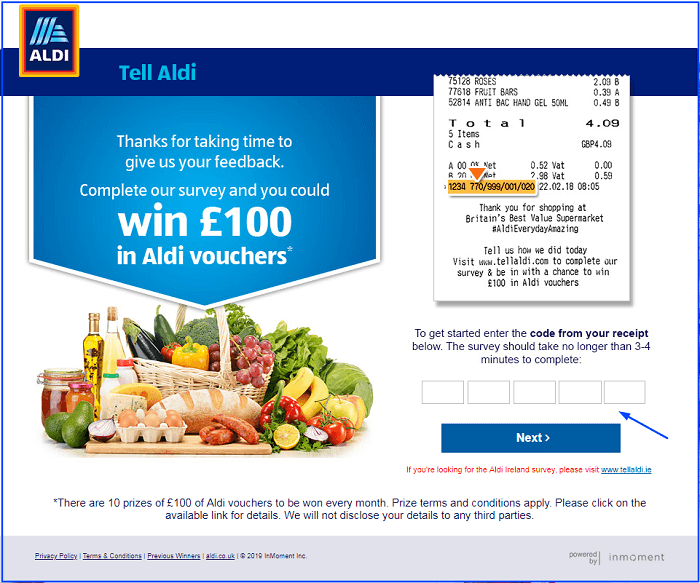 Aldi Market Survey form