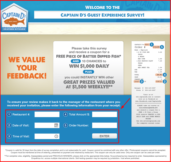 Captain D's Survey form