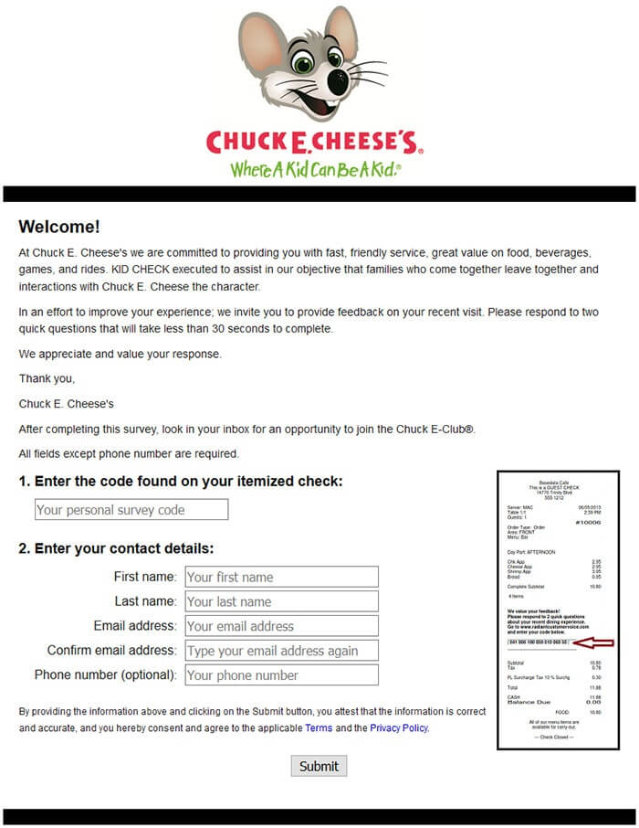 Chuck E. Chesse's Survey form