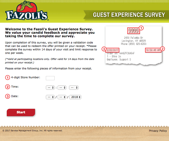 Fazoli's Survey form