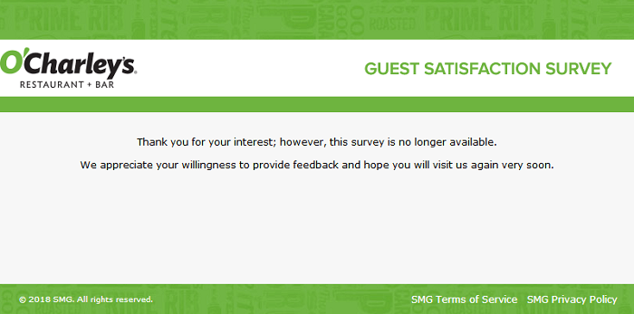 O'Charley's Survey form