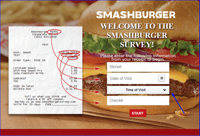 Smashburger Survey form
