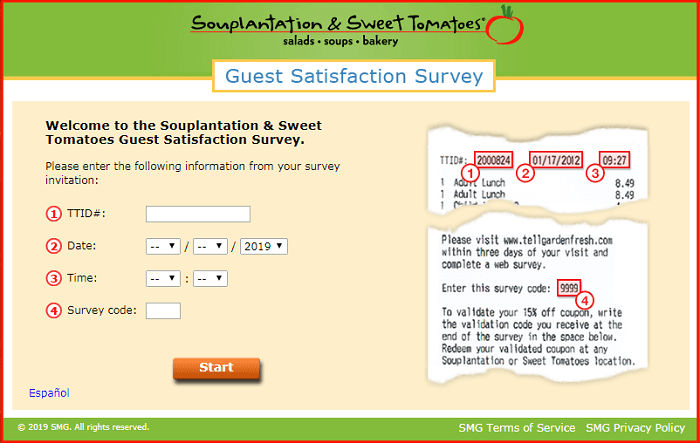 Souplantation & Sweet Tomatoes Survey form