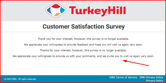 Turkey Hill Survey form