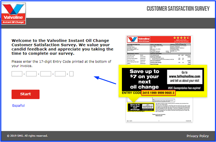 Valvoline Survey form