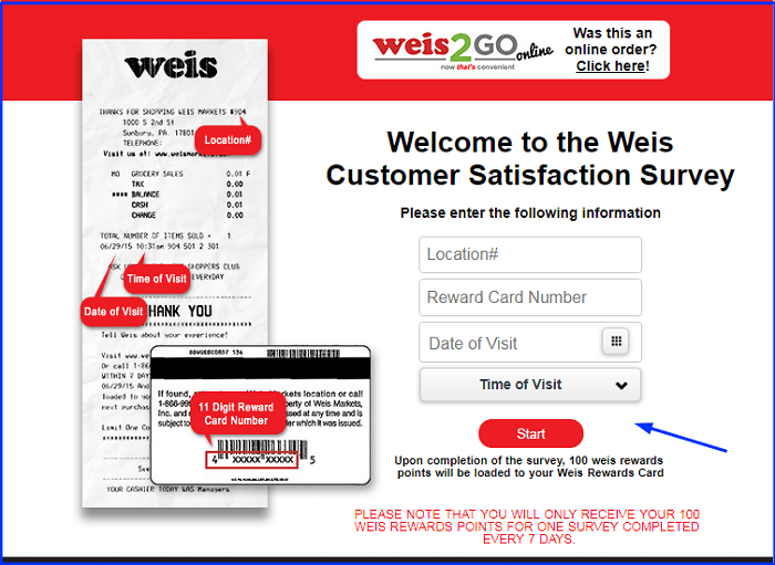 Weis Markets Survey form