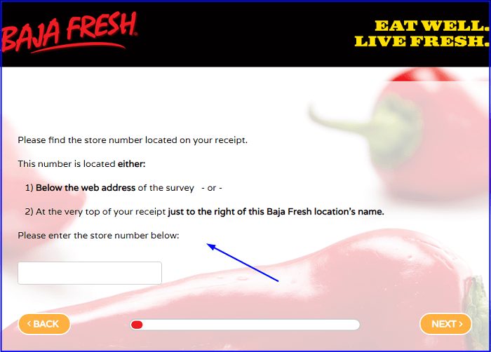 Baja Fresh Survey form