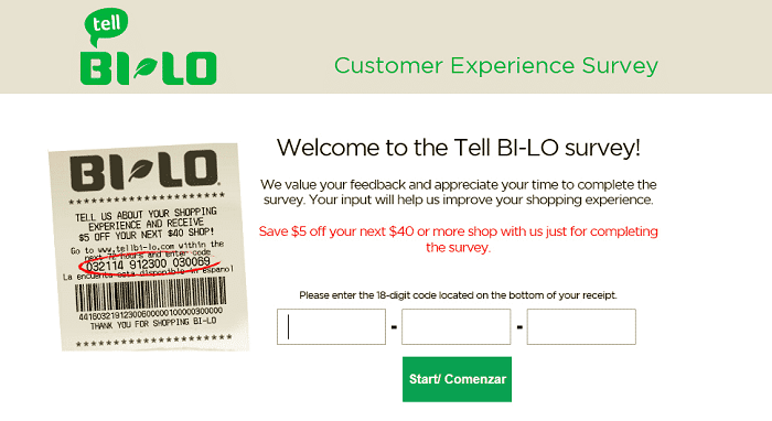 Bi-Lo Survey form