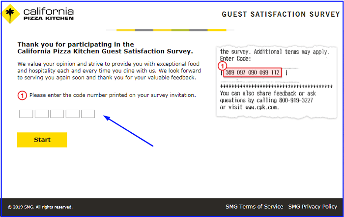 California Pizza Kitchen Survey form