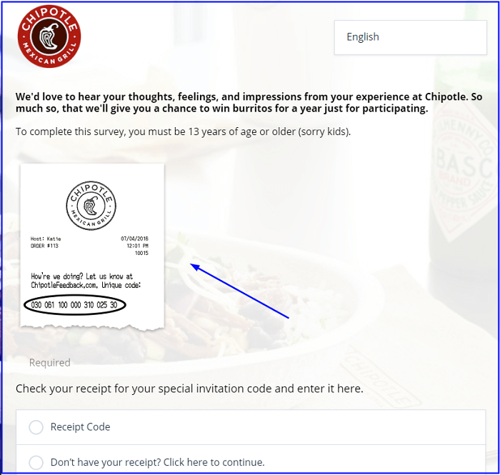 Chipotle Survey form