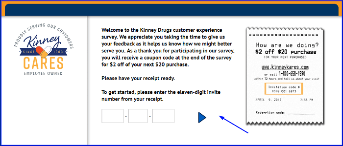 Kinney Drugs Survey form