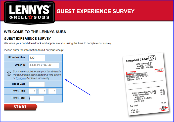 Lenny's Subs Survey form