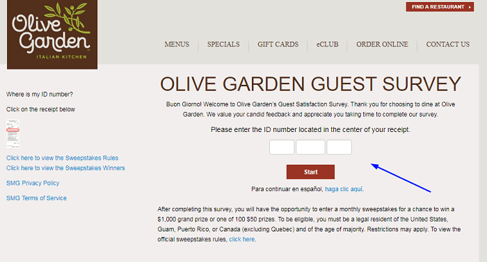 Olive Garden Survey form