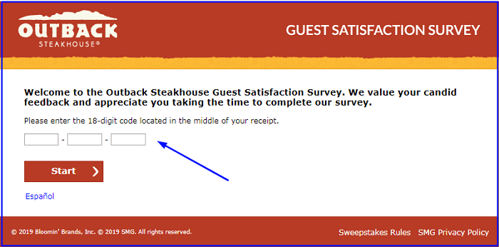 Outback Survey form