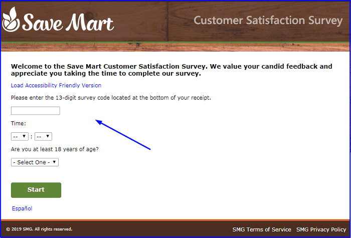 Save Mart Survey form