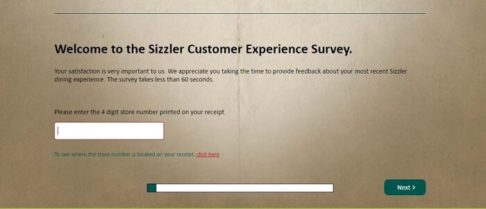 Sizzler Survey form