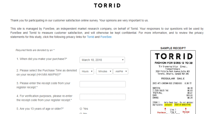 Torrid Survey form