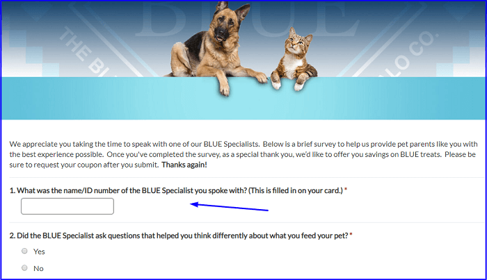Blue Buffalo Customer Satisfaction Survey form