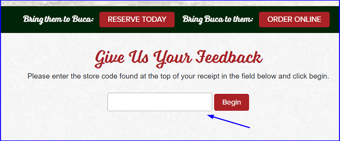 Buca di Beppo Guest Satisfaction Survey form