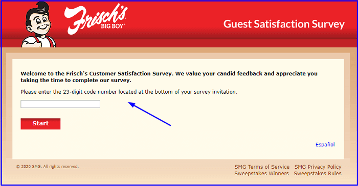 Frisch's Customer Satisfaction Survey form