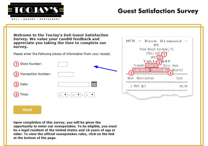 TooJay's Deli Guest Satisfaction Survey form
