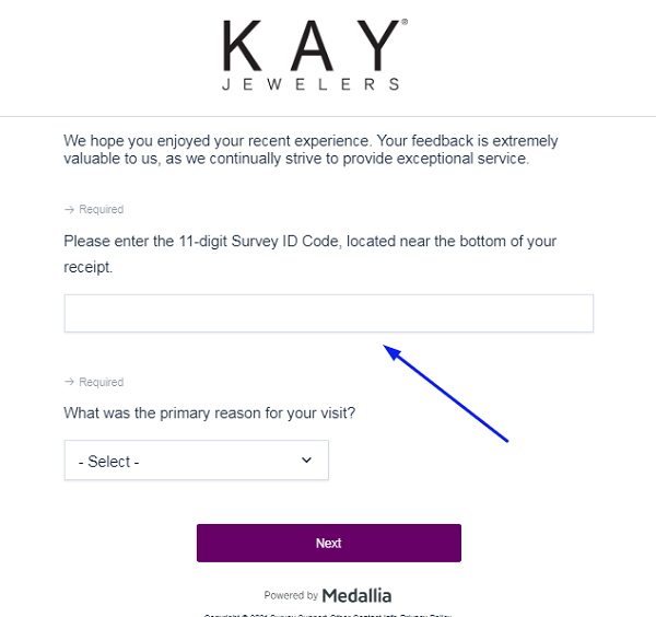 Kay Jewelers Survey form